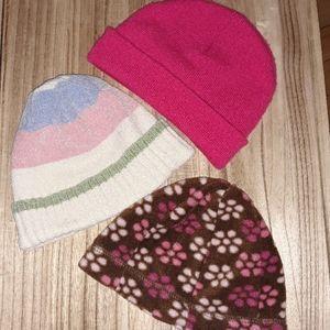 3 Little Girls Hats Winter Beanies Small Toddler